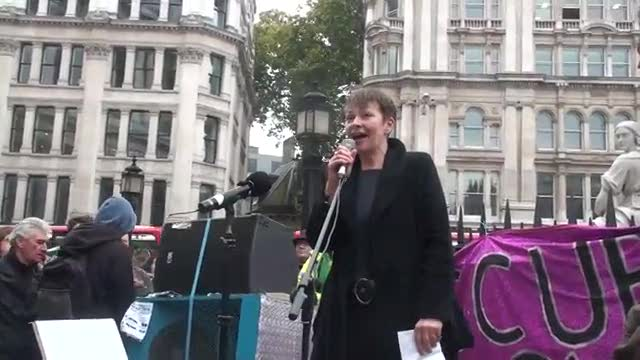 Caroline Lucas speaking at St Pauls November 5th