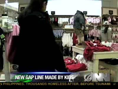 Onion News report on the new clothing line released by Gap. Where the kids clothes range is made by kids!