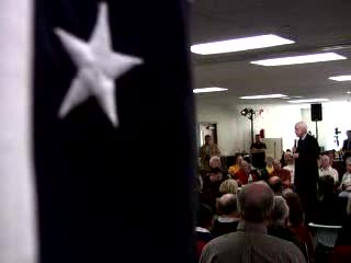 "Sen. John McCain spoke at a forum on climate change and energy at Seacoast Media Group in Porstmouth NH on Thursday December 6 2007. ""History will not judge the Bush administration kindly on the issue of climate change"" McCain said."