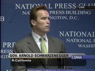 Arnie talks climate change policyhasta la vista gas guzzlers