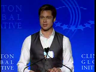 Brad Pitt and others appears at the Clinton Global Initiative Foundation event to discuss global warming