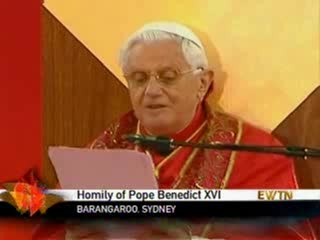 Pope Benedict XVI the end of his greeting homily plus multi-lingual greetings at Sydney Australia World Youth Days 2008