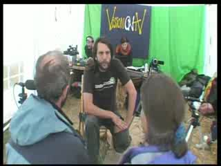 Report from inside the climate camp by VisionOnTV producing daily shows using solar power live-edit studio